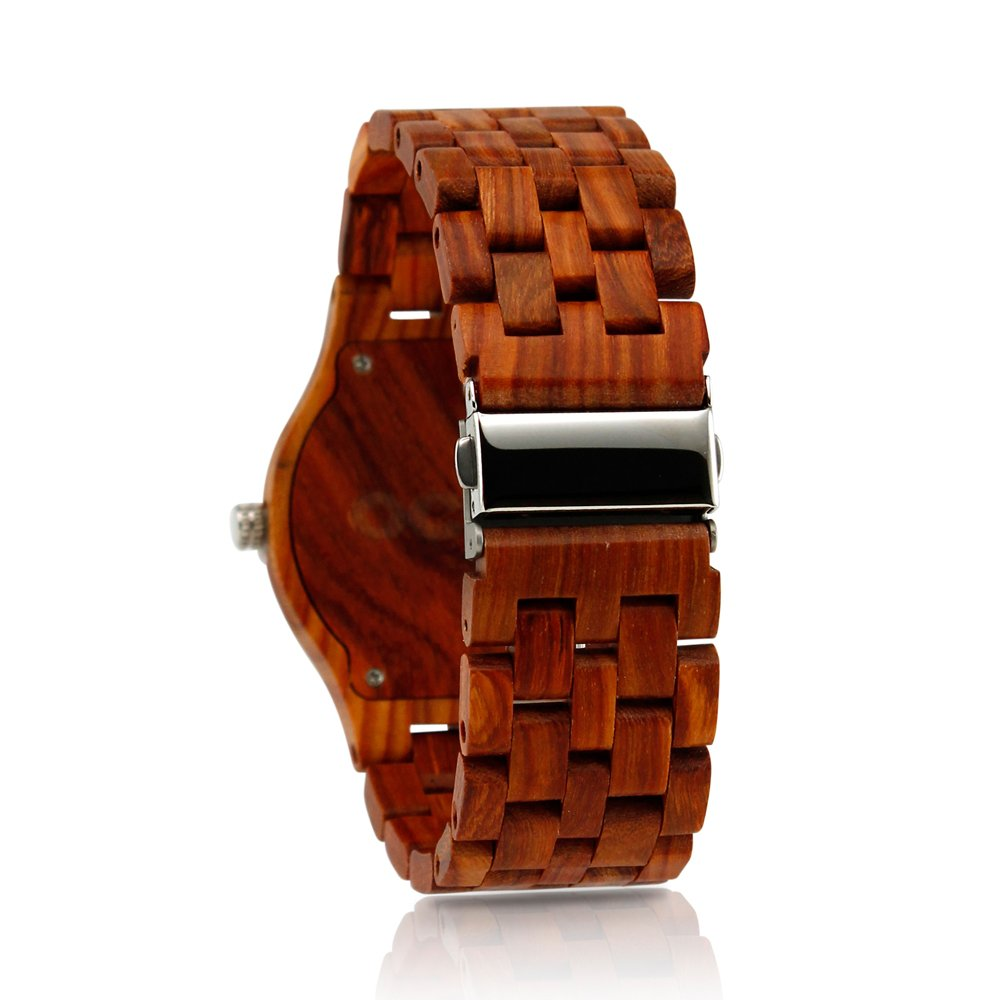 Oct17 Men's Wooden Wood Watch Analog Quartz Day Date Calendar Bamboo Movement Watches with Case Luxury