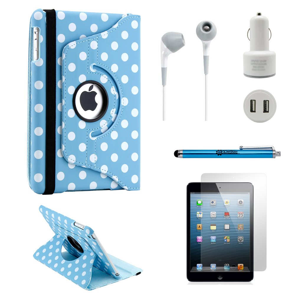 Gearonic iPad Mini 5-in-1 Accessories Bundle Light Blue PolkaDot Rotating Case Business Travel Combo