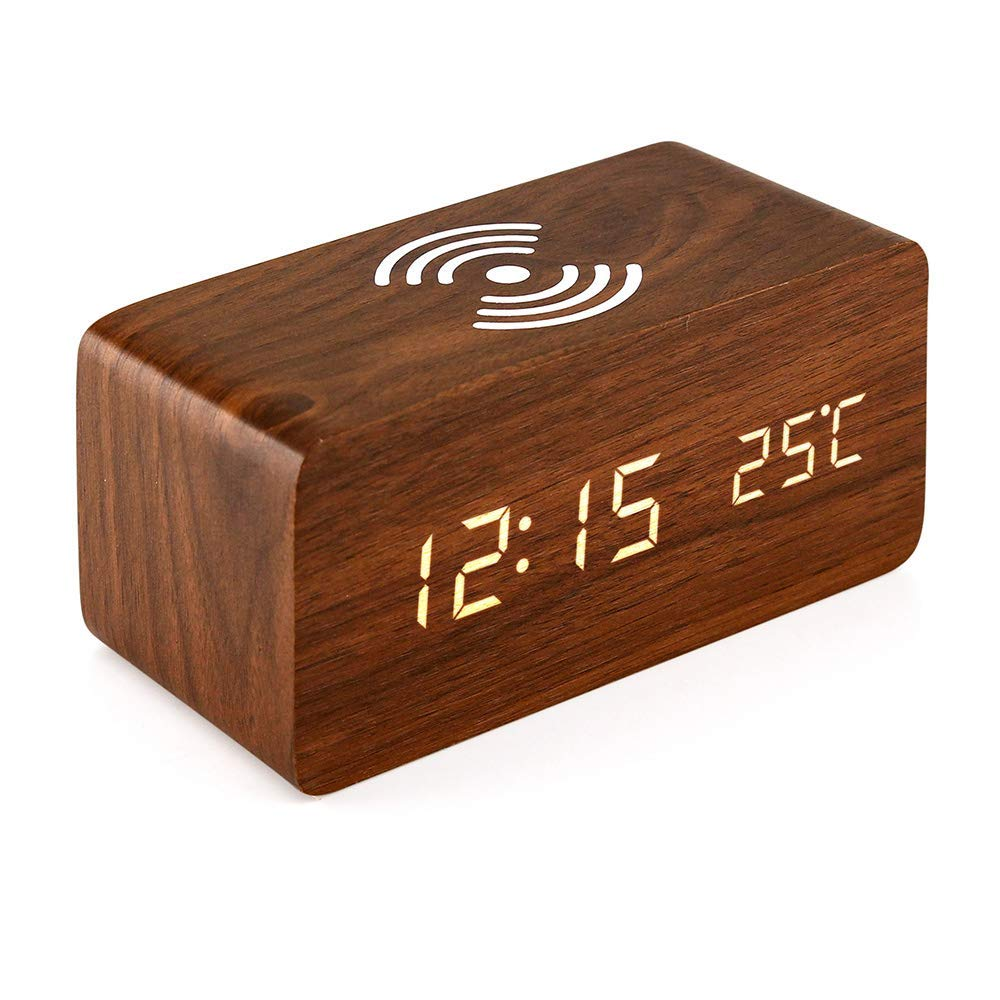 Oct17 Wooden Alarm Clock with Qi Wireless Charging Pad Compatible with  iPhone Samsung Wood LED Digital Clock Sound Control Function, Time Date,