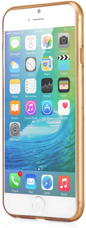 GEARONIC TM Ultra Thin Clear TPU Transparent Clear Skin Case Cover Compatible with Apple iPhone 6 / 6S 4.7 - Gold