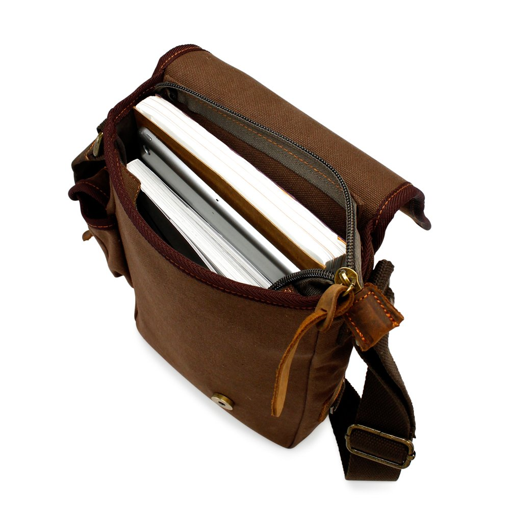 GEARONIC TM Men Military Canvas Messenger Shoulder Sling school Belt Crossbody Travel Hiking Bag Satchel