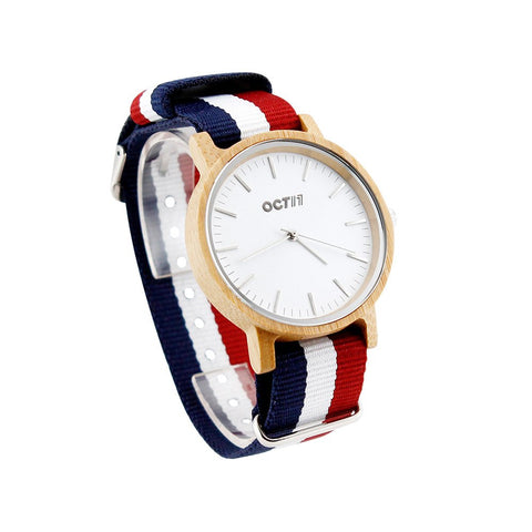 Women's Wooden Watch Wrist Watches Quartz Analog Wristwatch Bamboo Casual Business Watch with Nylon Multi-Color Striped Band