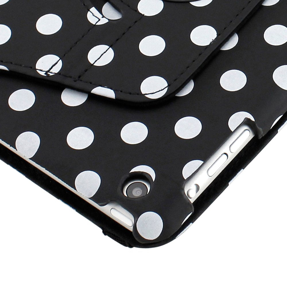 Gearonic TM 360 Degree Rotating Stand Smart Cover PU Leather Swivel Case for Apple iPad Mini and 2013 iPad Mini with Retina Display (Wake/sleep Function) - Black/White Polka Dot