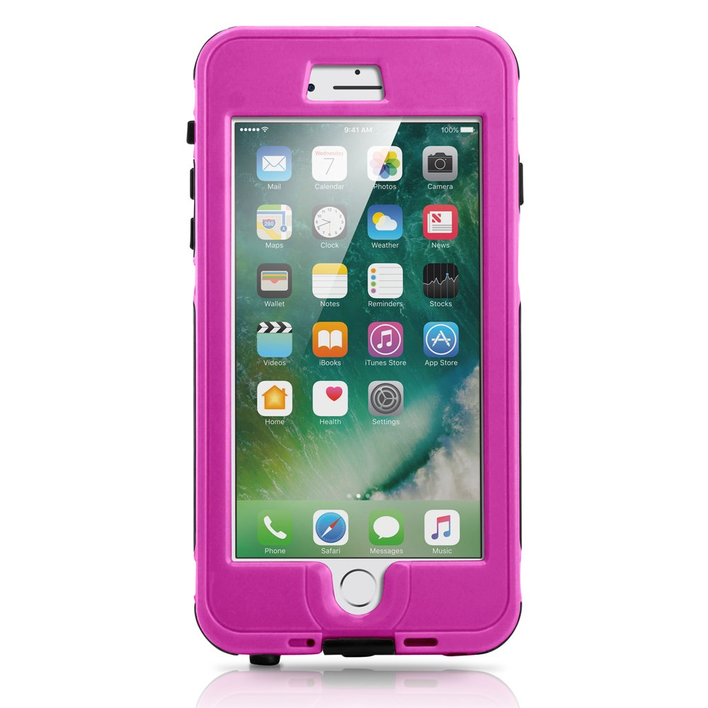 GEARONIC TM Durable Swimming Waterproof Shockproof Dirt Snow Proof Case Compatible with Apple iPhone 7 Plus - Purple