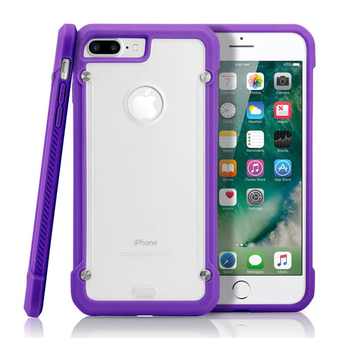 GEARONIC TM Shockproof Hybrid Rugged Bumper Protective TPU Hard PC Back Case Clear Cover Apple iPhone 7 Plus - Purple