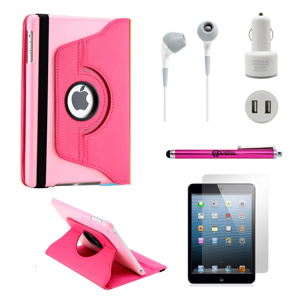 GEARONIC TM iPad Mini/ Mini 2 Retina Display 5-in-1 Accessories Bundle Hot pink Rotating Case Business Travel Combo