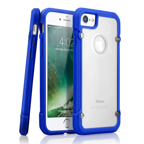 GEARONIC TM Shockproof Hybrid Rugged Bumper Protective TPU Hard PC Back Case Clear Cover Compatible with Apple iPhone 7 - Dark Blue