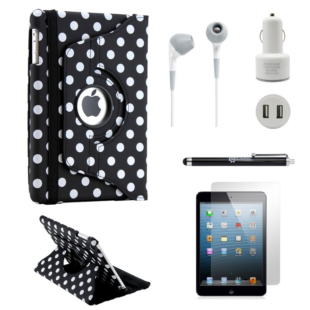 Gearonic iPad Mini 5-in-1 Accessories Bundle Black PolkaDot Rotating Case Business Travel Combo