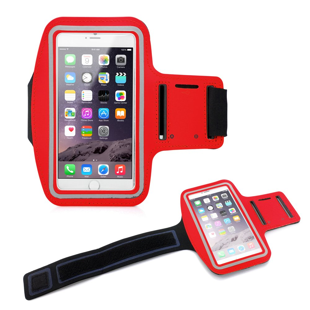 "Premium Running Jogging Sports Workout Gym Armband Sportband Pouch Case Cover Holder Compatible with iPhone 6 Plus 5.5"" - Red"