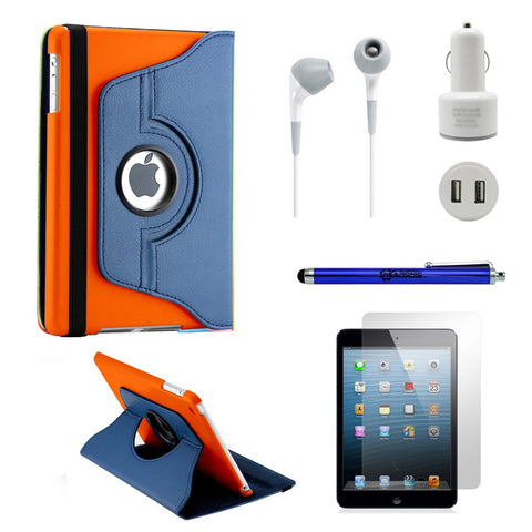 GEARONIC TM iPad Mini/Mini Retina/Mini 3 case (released 2014) 5-in-1 Accessories Bundle dark blue and orange Rotating Case Business Travel Combo