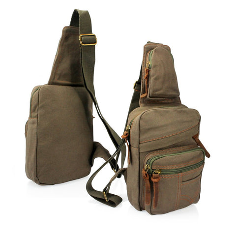GEARONIC TM GEARONIC TM Man's Satchel Zipper Canvas Messenger Shoulder Travel Fanny Bag Backpack