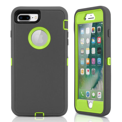 GEARONIC TM Premium Rugged Complete Protection PC Silicone Shockproof Protective Hybrid Hard Case Cover Compatible with iPhone 7 Plus - Dark Gray