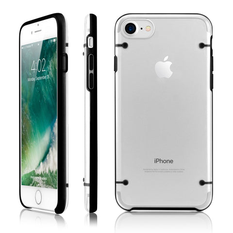 GEARONIC TM Ultra Slim Clear Cover Bumper Rubber Protective Shockproof Transparent Luminous Glow in The Dark Case Compatible with Apple iPhone 7 - Black