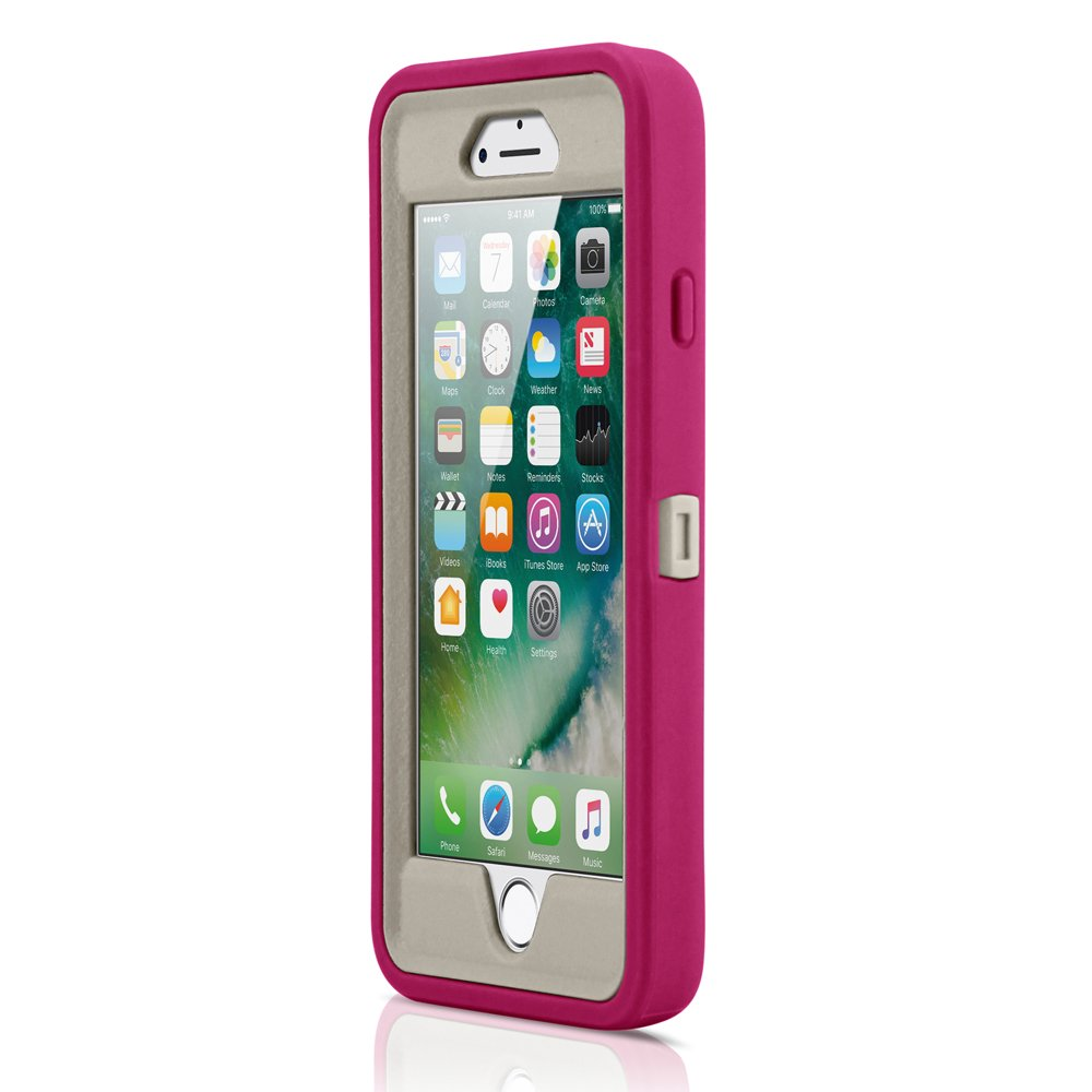 GEARONIC TM Premium Rugged Complete Protection PC Silicone Shockproof Protective Hybrid Hard Case Cover Compatible with iPhone 7 - Pink