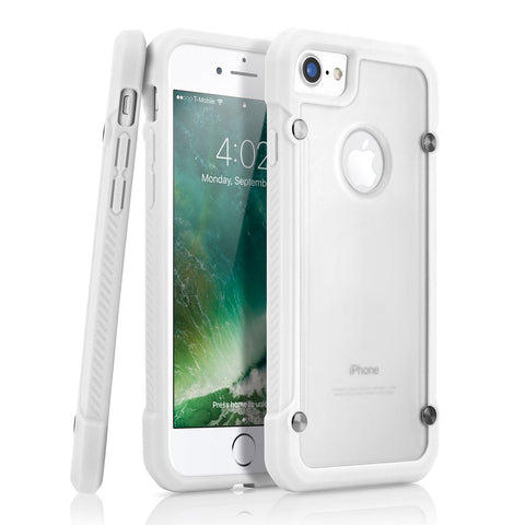 GEARONIC TM Shock Absorption Bumper Shockproof Rugged Protective TPU Hard PC Back Case Clear Cover Compatible with Apple iPhone 8 - White