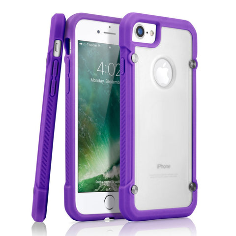 GEARONIC TM Shock Absorption Bumper Shockproof Rugged Protective TPU Hard PC Back Case Clear Cover Compatible with Apple iPhone 8 - Purple