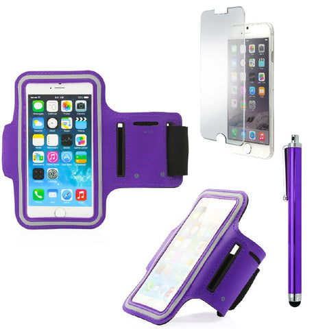 GEARONIC TM Premium Full Running Jogging Sports Gym Armband Case Cover Holder Compatible with Apple iPhone 6 with Free Tempered Glass Screen Guard - Purple