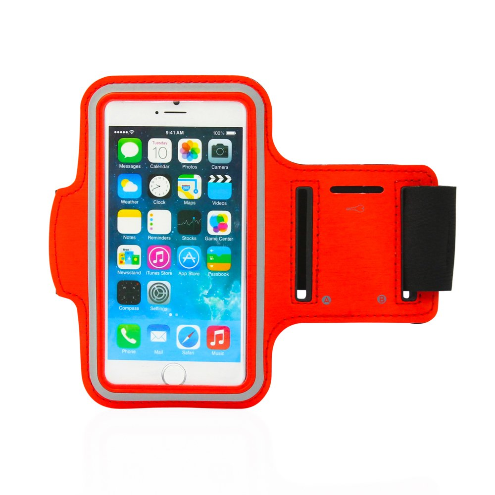 GEARONIC TM Premium Full Running Jogging Sports Gym Armband Case Cover Holder Compatible with Apple iPhone 6 - Red