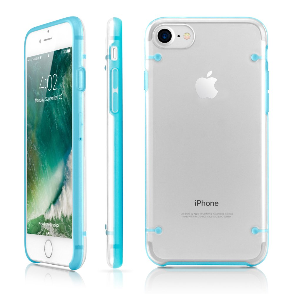 GEARONIC TM Compatible with Apple iPhone 8 Case, Ultra Slim Fit Clear Cover Bumper Anti-Scratch Resistant Transparent Case - Blue