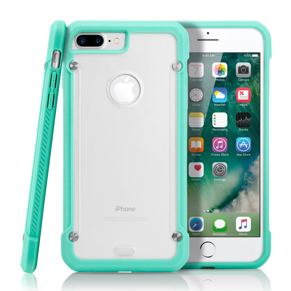 GEARONIC TM Apple iPhone 8 Plus Case, Shock Absorption Bumper Shockproof Rugged Protective TPU Hard PC Back Case Clear Cover - Light Blue