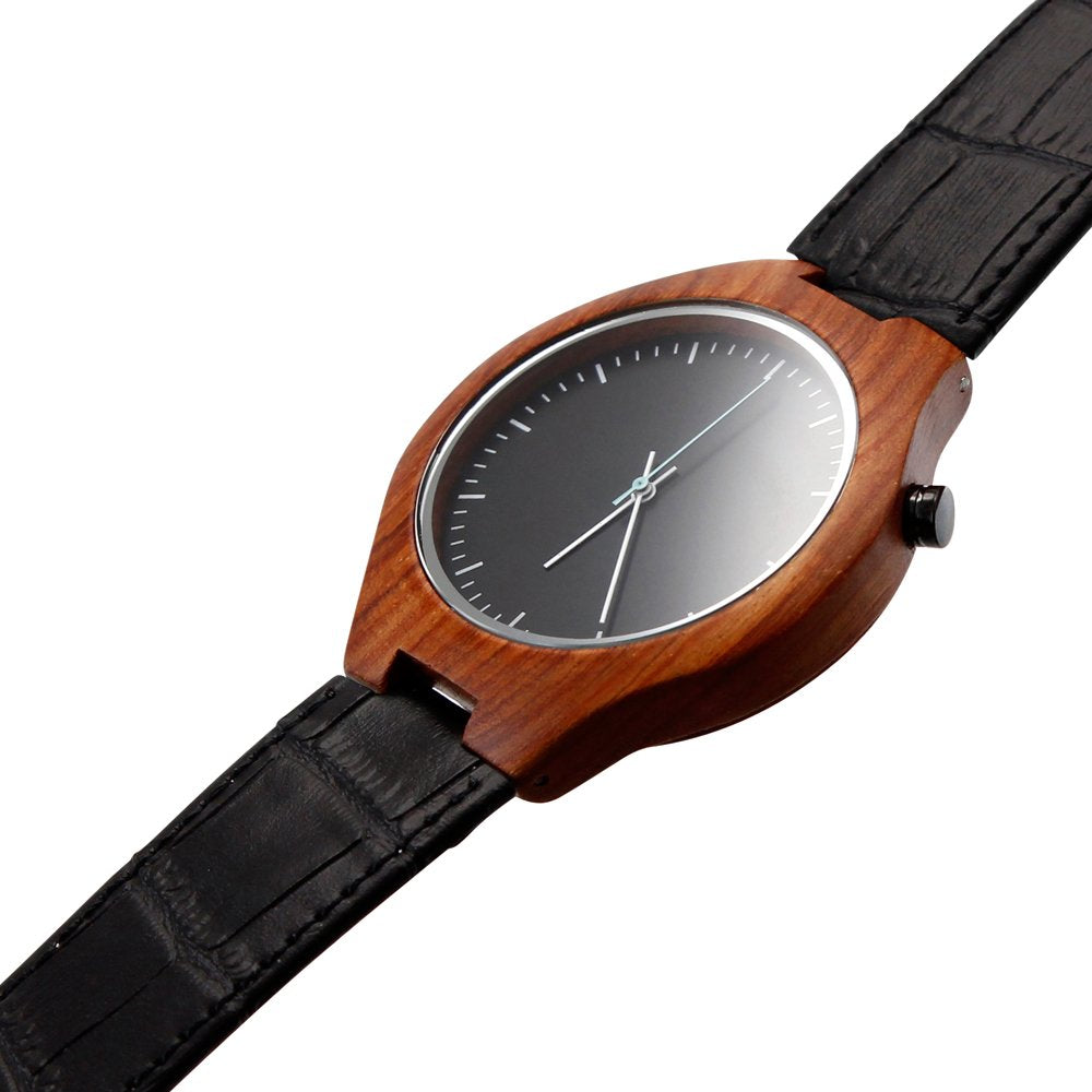 Oct17 Men's Wooden Bamboo Wood Watch Quartz Fashion Luxury Leather Wristwatches Casual Black Band Watches