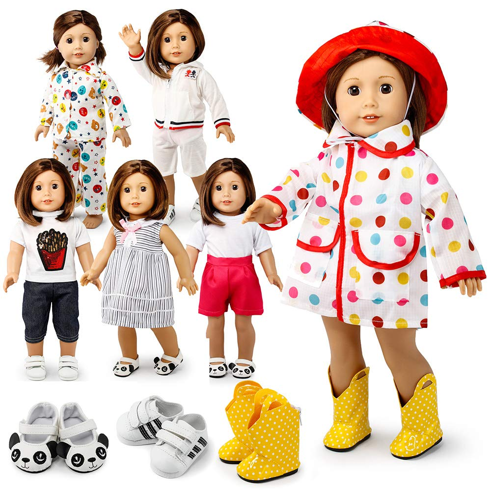 "Oct17 Doll Clothes for American Girl 18"" inch Dolls Wardrobe Makeover Outift Dressy Raincoat Casual Dress Boots Bundle"