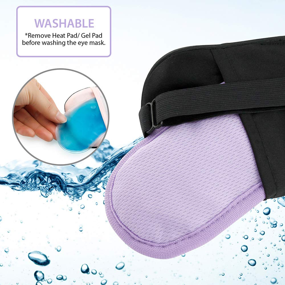 Oct17 Heated cold Eye Mask with USB Temperature Control Cooling Gel Lavender Flavor Dry Eye Puffy Eyes Warm Therapeutic Treatment Relieving Insomnia Sleeping Eye Cover
