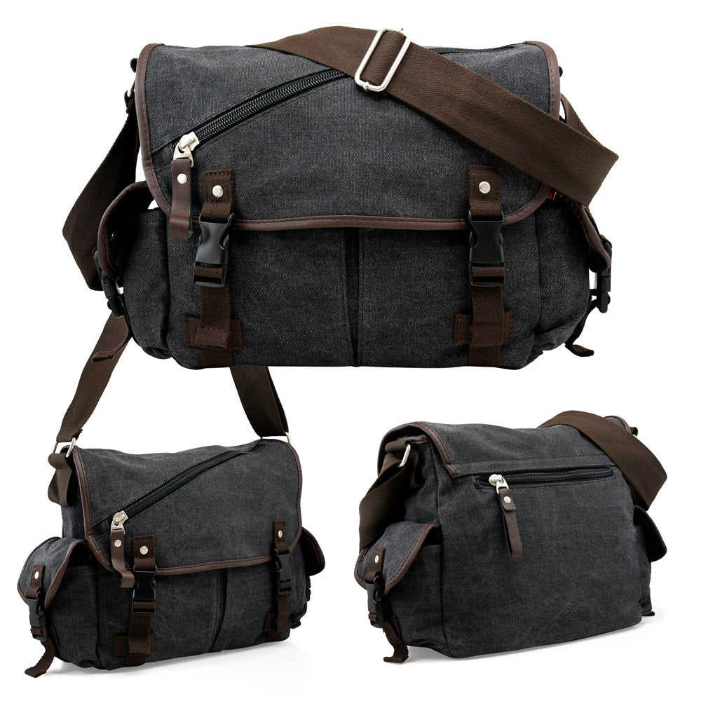Oct17 Men Messenger Bag School Shoulder Canvas Vintage Crossbody Military Satchel Bag Laptop