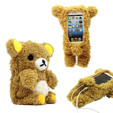 GEARONIC TM New 2016 3D Cute Doll Toy Cool Plush Teddy Bear Cover Shockproof Dirt Dust Proof Case Compatible with Apple iPhone SE 4 4S 4G 5 5S 5C