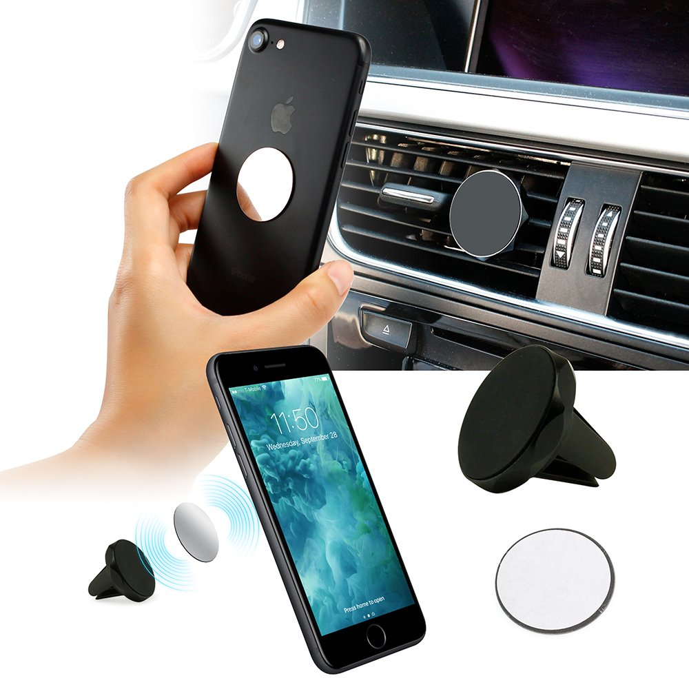 Oct17 Universal Air Vent Magnetic Phone Car Mount Holder Cradle Fast Swift-Snap Technology Smartphones Mini Tablets, Black