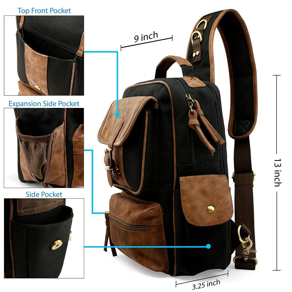 OCT17 Men Chest Shoulder Sling Backpack Cross body Canvas Messenger Outdoor Travel Daypack