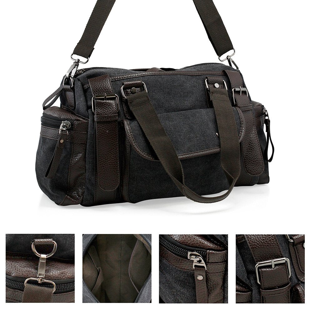 Oct17 Men Canvas Travel Bag, Vintage Tote Portable Luggage Bag, Gym Sports Duffel Hiking Messenger Crossbody Bag
