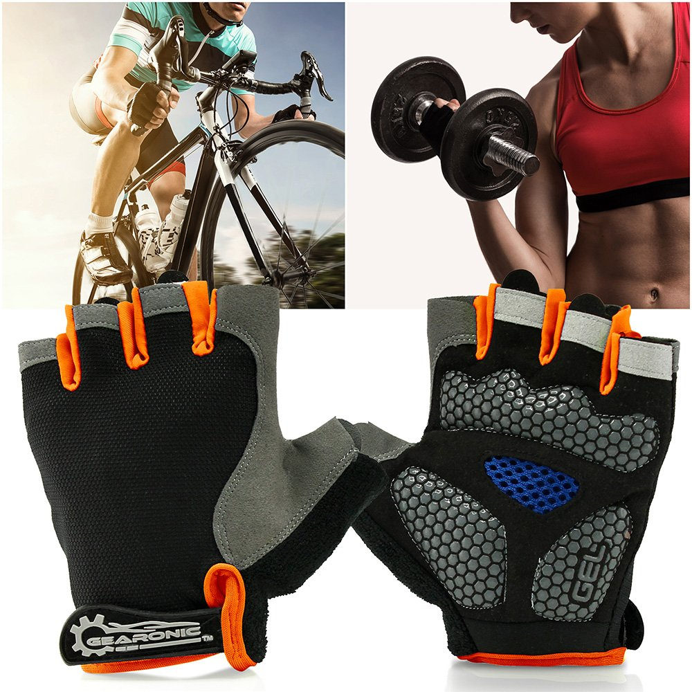 GEARONIC TM Cycling Half Finger Glove Mountain Bicycle Men Gloves Women Gel Pad Anti-Slip Breathable Outdoor Sports Shock-Absorbing Riding Biking Cycle