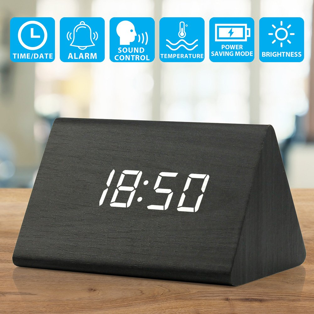 OCT17 Wooden Wood Clock, 2018 Version LED Alarm Digital Desk Clock 3 Levels Adjustable Brightness, 3 Groups of Alarm Time, Displays Time Date Temperature