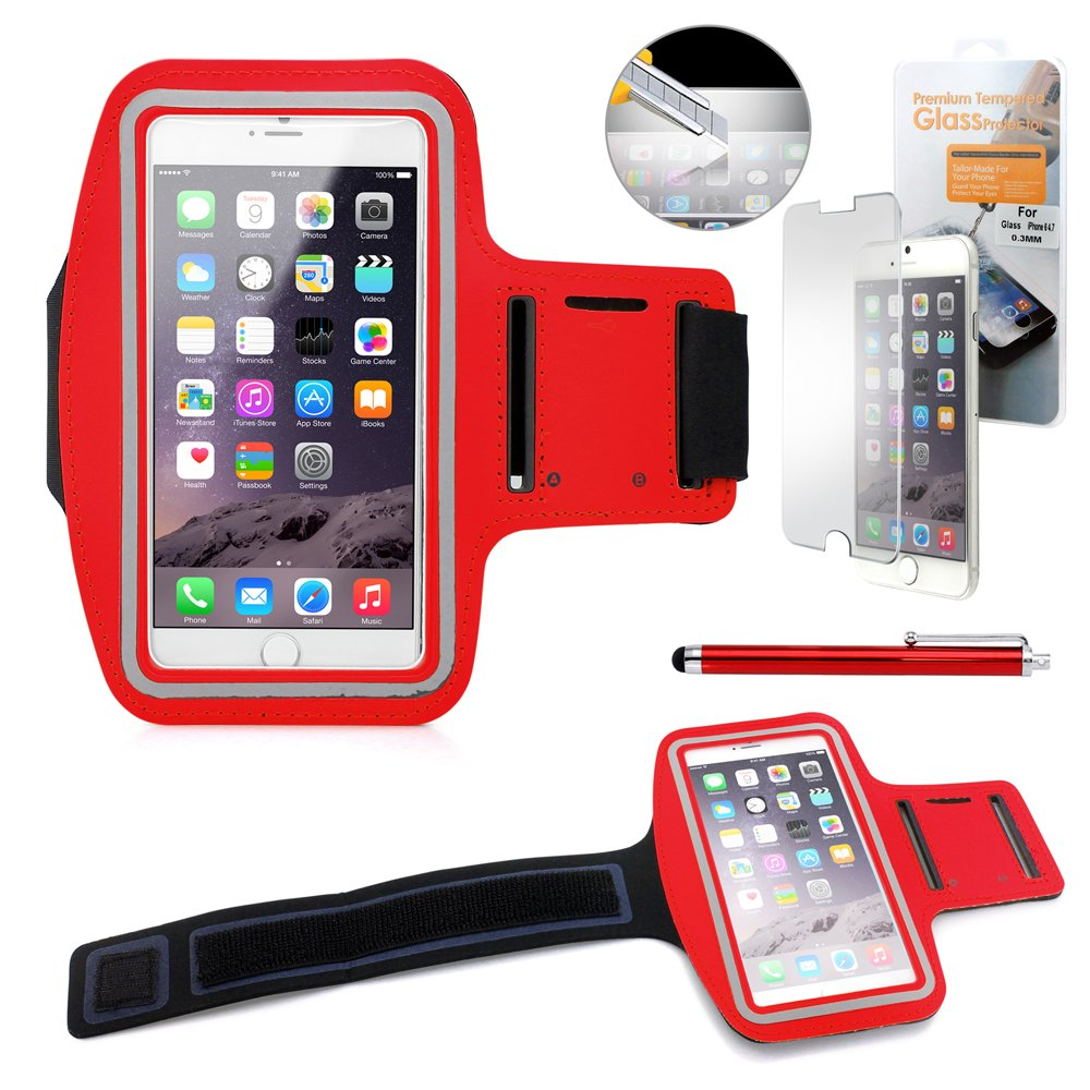 GEARONIC TM Premium Running Jogging Sports Workout Gym Armband Sportband Pouch Case Cover Holder Compatible with iPhone 6 Plus 5.5 with Free Tempered Glass Screen Guard - Red