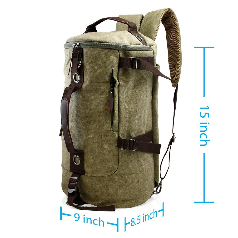 3 Way Canvas Travel Shoulder Backpack Hiking Messenger Luggage Men Women