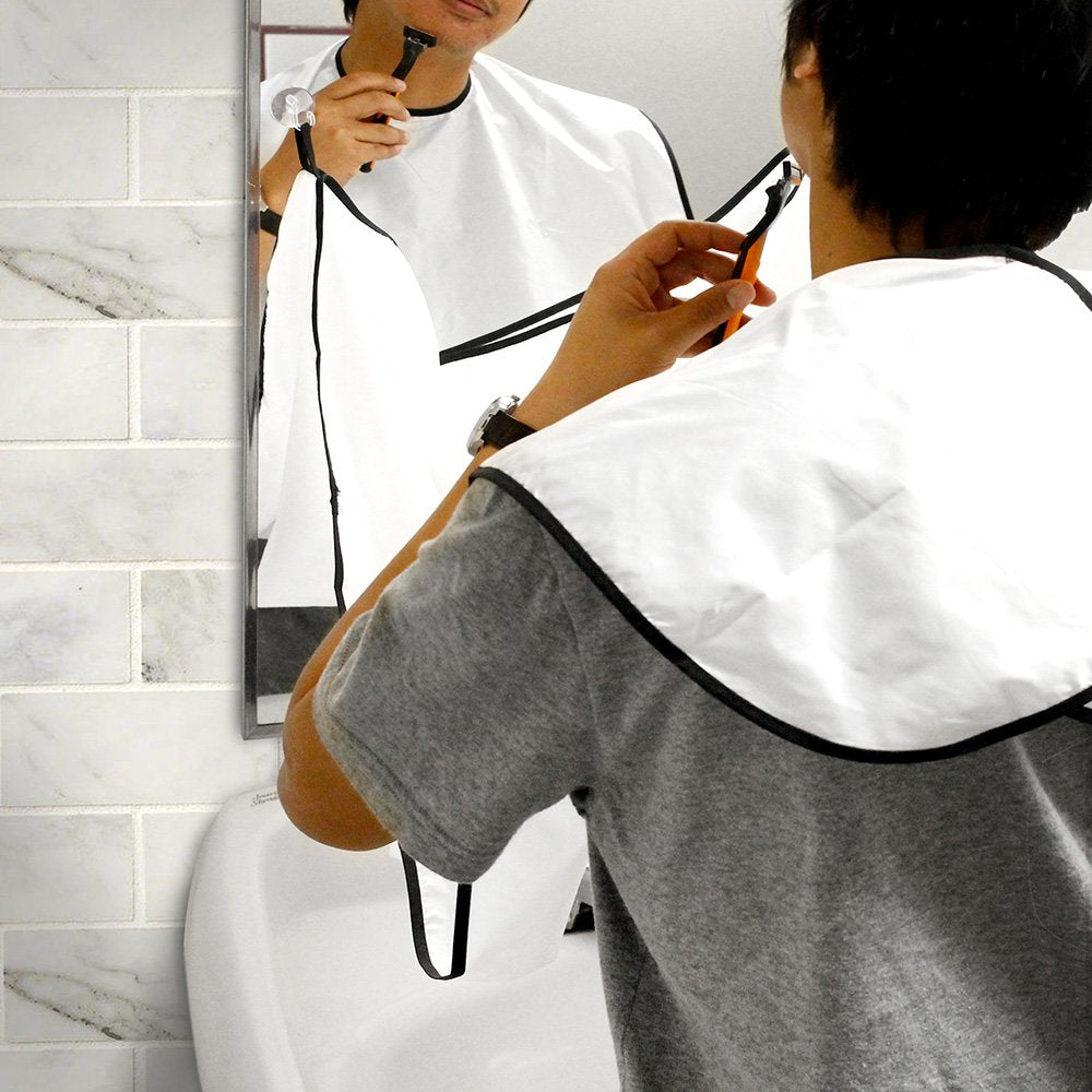 Oct17 Beard Catcher Cape Bib Apron for Man Shaving Groom Trim Whiskers Bib Facial Hair Trimmings Sink