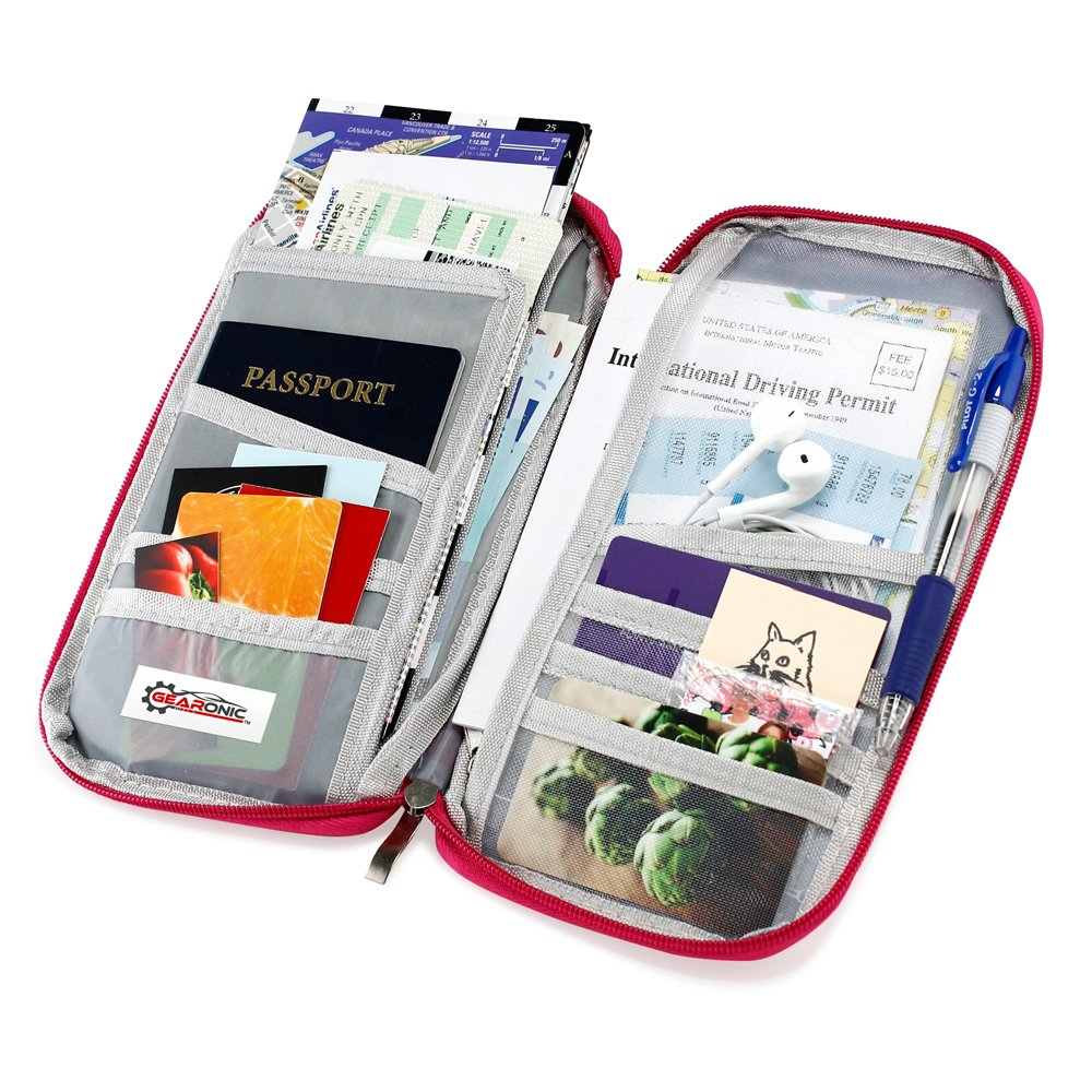 GEARONIC TM Travel Wallet Slim Organizer Theft Proof Money Phone Passport Holder