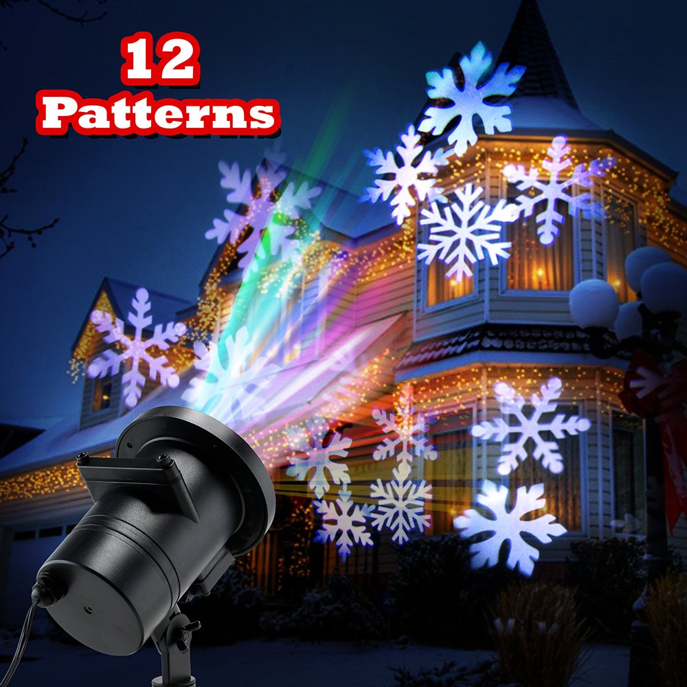 OCT17 Christmas LED Lights Projector Xmas Landscape Lamp Snowflakes Bright LED Indoor Outdoor Lighting for Halloween Christmas Holiday Party Birthday Garden Decoration