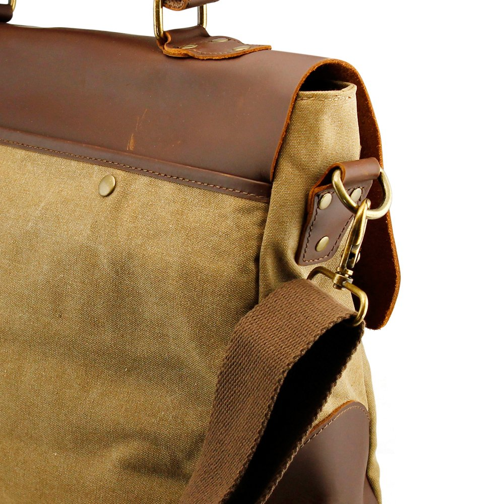 GEARONIC Genuine Leather Canvas Messenger Vintage Satchel Shoulder Bag for School Laptop