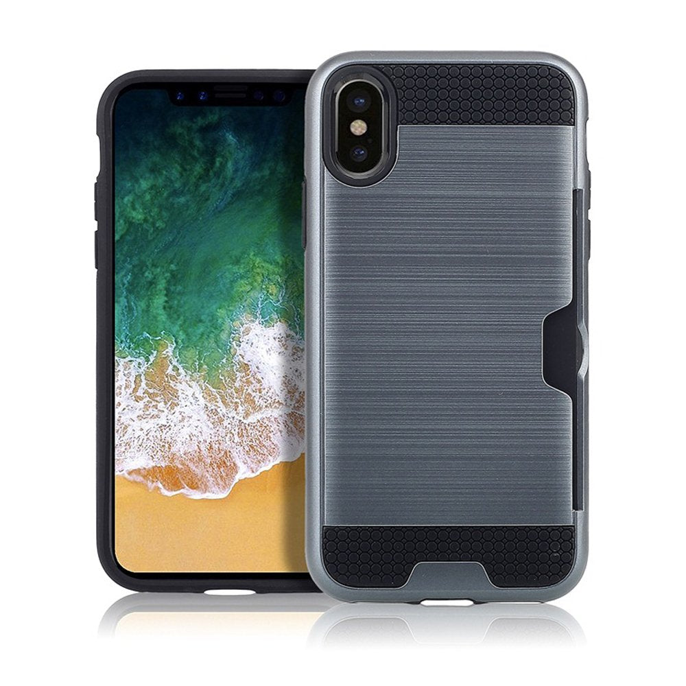 Oct17 Case Card Slot Holder Heavy Duty Credit Cards Wallet Shockproof Resistant Protective Hard Cover Compatible with Apple iPhone X iPhone