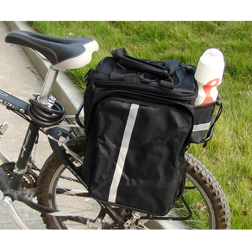 GEARONIC TM Cycling Bike Bicycle Rear Tail Seat trunk Bag Pannier Pouch Rack Shoulder Travel - Black