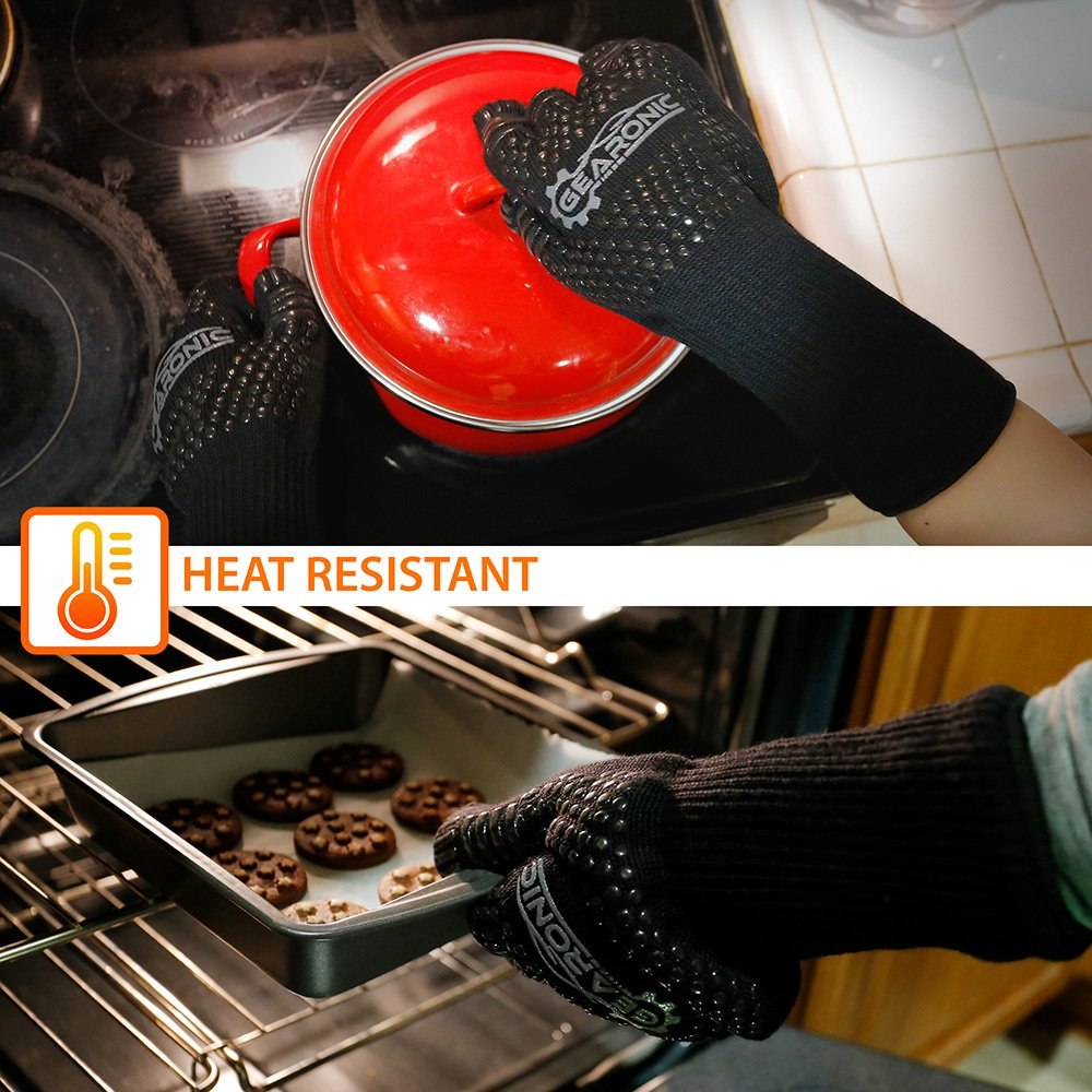 GEARONIC BBQ Long Large Heat Resistant Grill Gloves Silicone Non-slip for Kitchen Oven Barbecue Cooking Grilling Baking