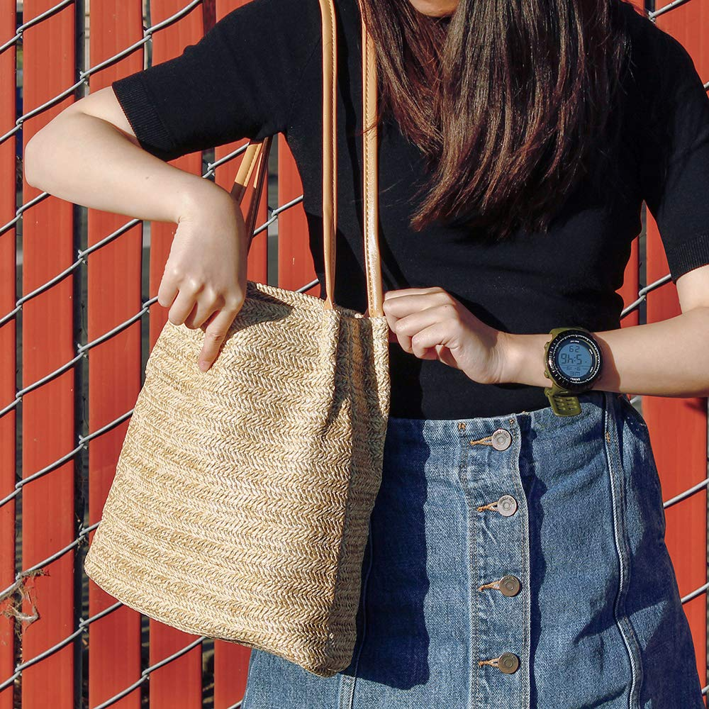 OCT17 Women Straw Beach Bag tote Shoulder Bag Summer Handbag