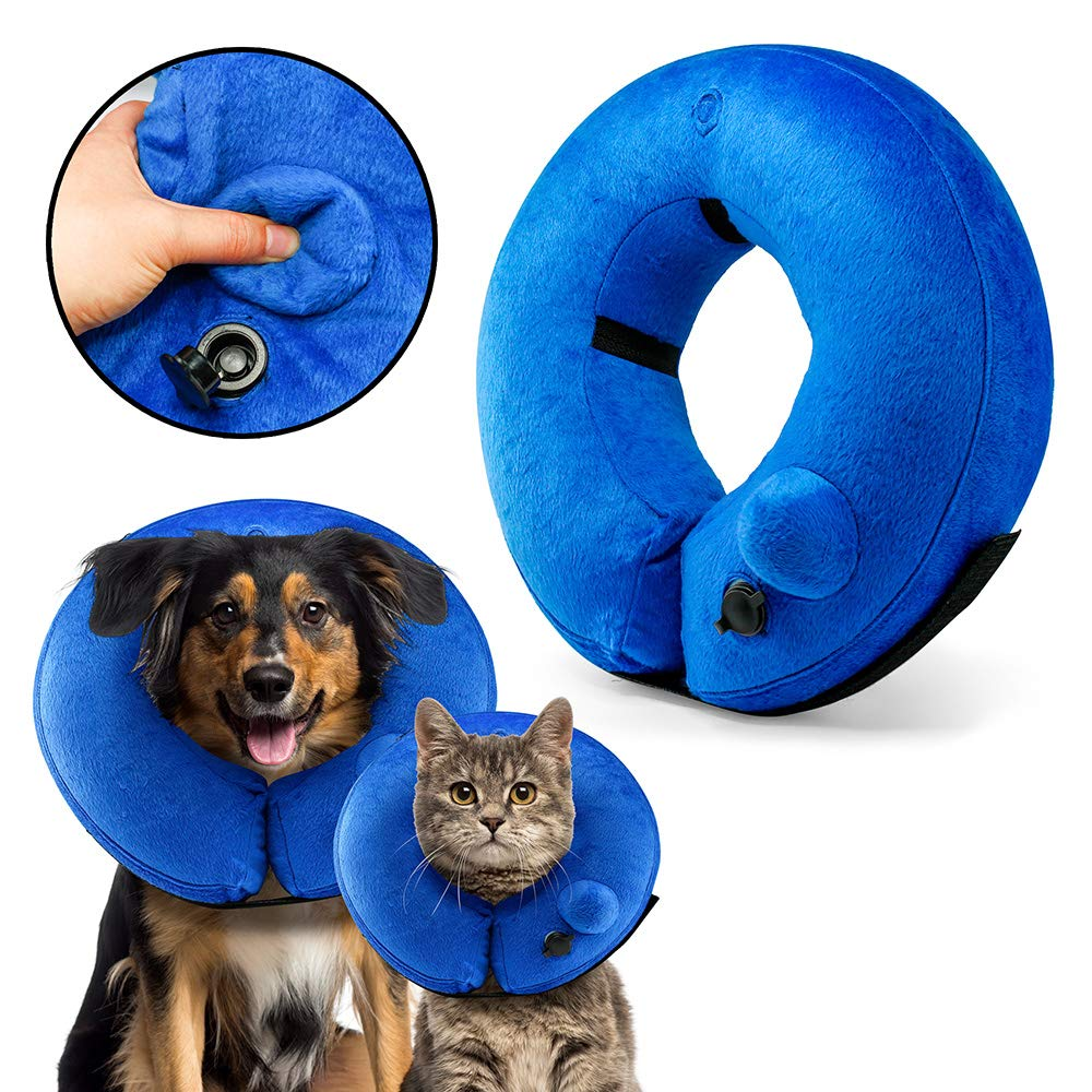 OCT17 Protective Self Inflatable Collar Soft Cone After Surgery Recovery for Pets Dogs Cats