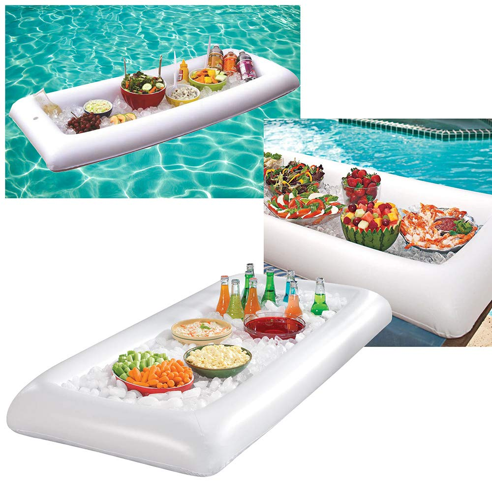GEARONIC Inflatable Serving Bar Buffet Salad Ice Drink Food Cooler Picnic Camping Party Yard Outdoor Tray With Drain Plug