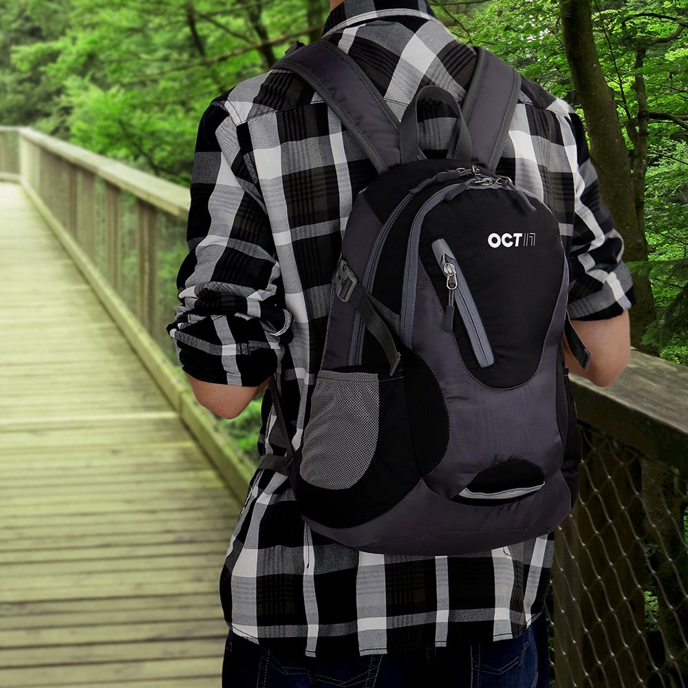 Oct17 Lightweight Small Backpack Water Resistant Durable Travel Hiking Camping Outdoor Daypack Waterproof for Men Women