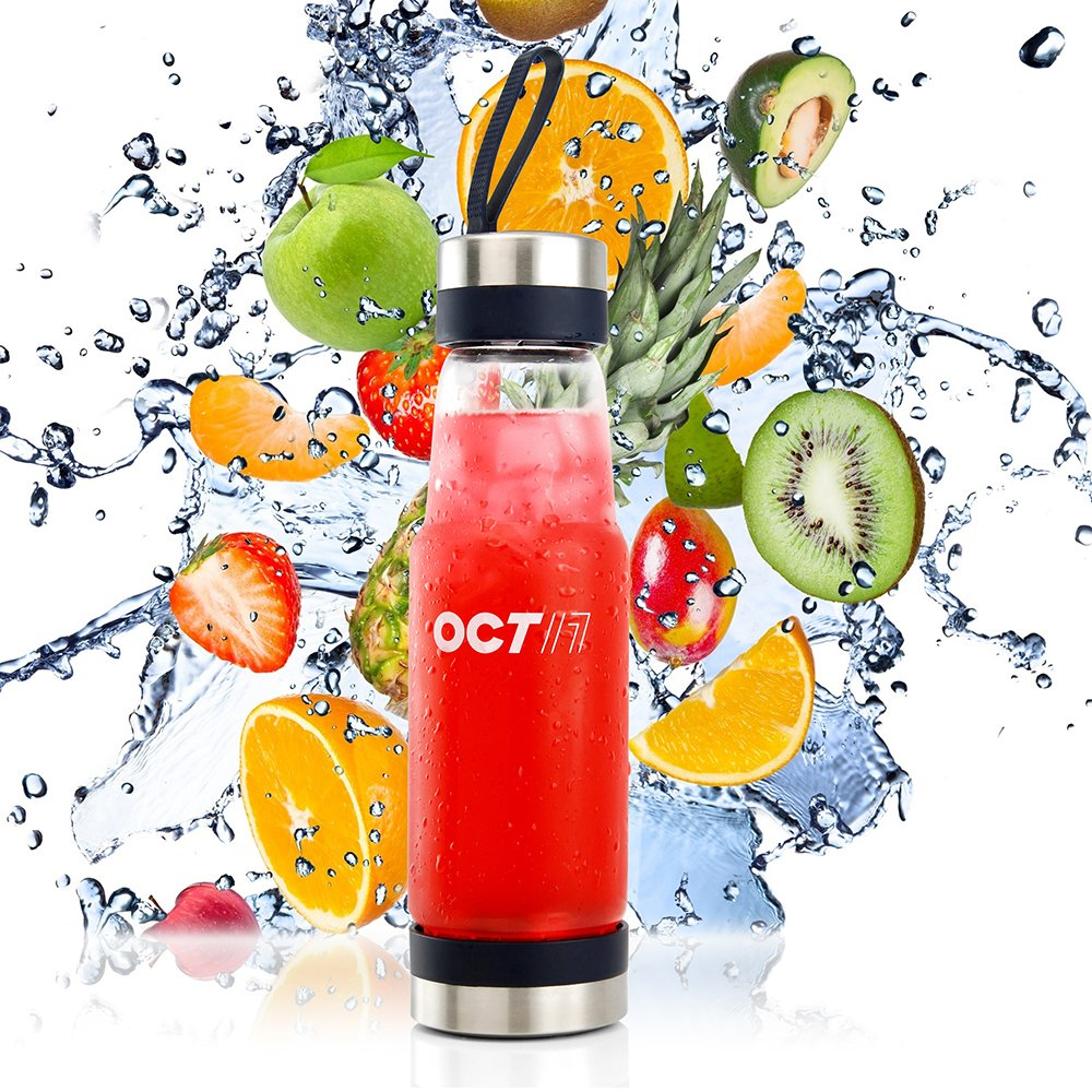 Oct17 Tea Fruit Infuser Glass Water Bottle - Hot and Cold Fruit Drink Containers, Extra Strong Stainless Steel, Portable Sport Travel Bottles And Sleeve Combo Set