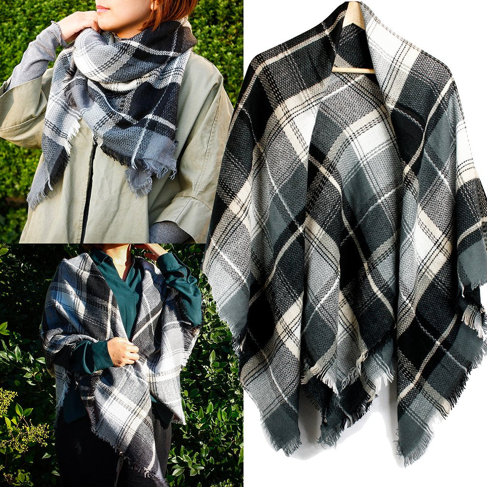 Oct17 Plaid Scarfs for Women Pashmina Tartan Wrap Large Warm Blanket Soft Shawl Checked Winter Fall Scarfs Scarves for Woman