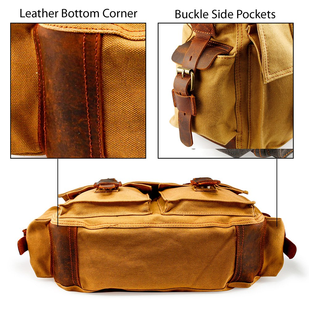 "GEARONIC Mens Canvas Leather Messenger Bag for 14"" 15"" 17"" Laptop Satchel Vintage Shoulder Rugged Military Crossbody Large Briefcase"
